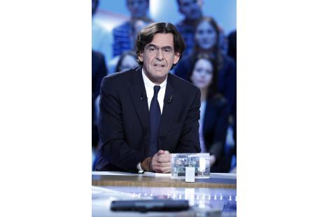 France's former Education minister and philosopher Luc Ferry takes part in the TV show 'Le Grand...