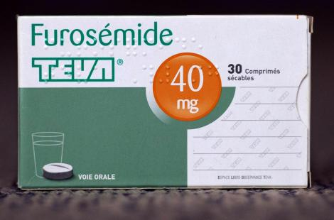 A picture taken on June 9, 2013 in Paris shows a box of Furosemide medicine, a generic diuretic...